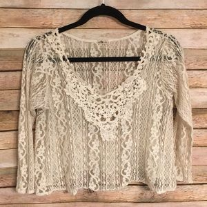 Size L Hollister Festival Lace Crop Top